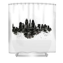 Shower Curtain featuring the mixed media Cincinnati Skyline Black And White by Marian Voicu