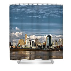 Cincinnati Skyline Hdr Shower Curtain by Keith Allen