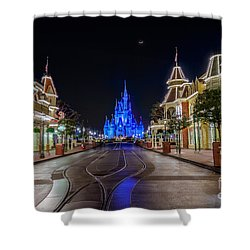 Cinderella Castle Glow Over Main Street Usa Shower Curtain