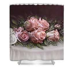 Shower Curtain featuring the painting Spray Of  Roses by Bonnie Willis