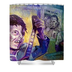 Shower Curtain featuring the painting Cinema Paradiso by Paul Weerasekera