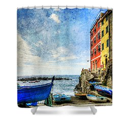 Cinque Terre - Little Port Of Riomaggiore - Vintage Version Shower Curtain