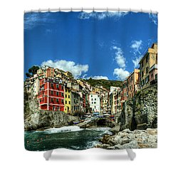 Cinque Terre - View Of Riomaggiore Shower Curtain