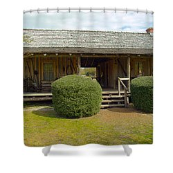 Circa 1900 Dogtrot Cabin Of Ephriam Brown From Lake Mills Florida Shower Curtain by Allan  Hughes