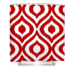 Circle And Oval Ikat In White T02-p0100 Shower Curtain