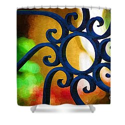 Circle Design On Iron Gate Shower Curtain