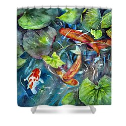 Shower Curtain featuring the painting Circle Of Koi by Mary McCullah