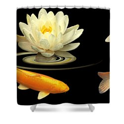 Circle Of Life - Koi Carp With Water Lily Shower Curtain by Gill Billington