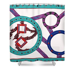 Shower Curtain featuring the mixed media Circle Time by Robert Margetts