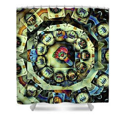 Circled Squares Shower Curtain by Ron Bissett