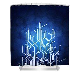 Circuit Board Technology Shower Curtain