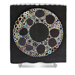 Shower Curtain featuring the mixed media Circular Convergence Of Mutated Molecules by Douglas Fromm