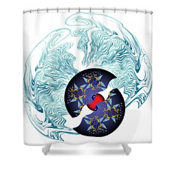 Shower Curtain featuring the digital art Circularium No 2635 by Alan Bennington