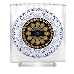 Shower Curtain featuring the digital art Circularium No 2638 by Alan Bennington