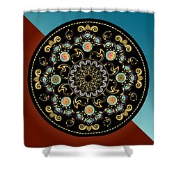 Shower Curtain featuring the digital art Circularium No 2640 by Alan Bennington
