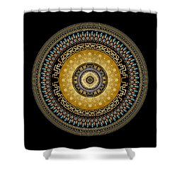 Shower Curtain featuring the digital art Circularium No 2642 by Alan Bennington
