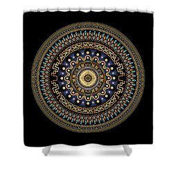 Shower Curtain featuring the digital art Circularium No 2643 by Alan Bennington