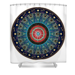 Shower Curtain featuring the digital art Circularium No 2661 by Alan Bennington