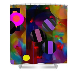 Shower Curtain featuring the digital art Circus Balls by Lynda Lehmann