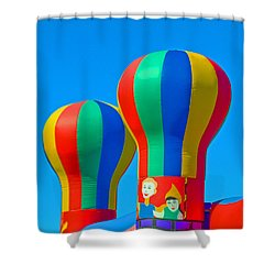 Circus In The Sky - Three Shower Curtain by Allan  Hughes