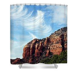 Shower Curtain featuring the photograph Cirrus Clouds Over The Mesa by Lynda Lehmann