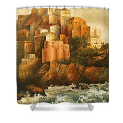 Cinque Terre Lerici Italia Painting Shower Curtain