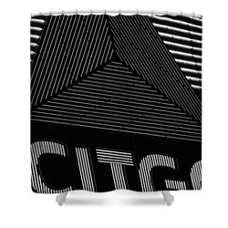 Citgo Sign Closeup Boston Ma Black And White Shower Curtain