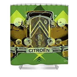 Shower Curtain featuring the digital art Citroen Traction Avant  by Jean luc Comperat