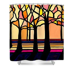 Citrus Glass Trees Shower Curtain