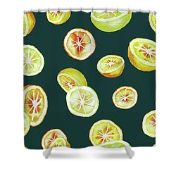 Citrus Shower Curtain by Varpu Kronholm