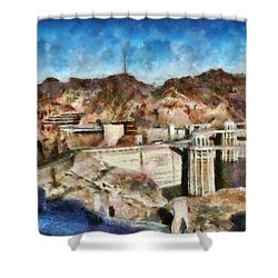 City - Nevada - Hoover Dam Shower Curtain by Mike Savad