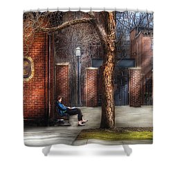 City - Newark Nj - Always Waiting  Shower Curtain by Mike Savad