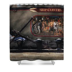 City - Ny South Street Seaport - Ship Carvers Shower Curtain by Mike Savad