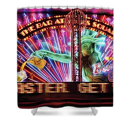 City - Vegas - Ny - The Bar At Times Square Shower Curtain by Mike Savad