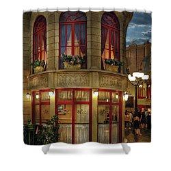City - Vegas - Paris - Le Cafe Shower Curtain by Mike Savad