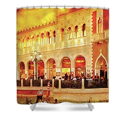 City - Vegas - Venetian - Life At The Palazzo Shower Curtain by Mike Savad