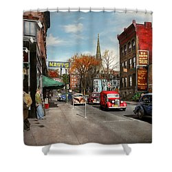 Shower Curtain featuring the photograph City - Amsterdam Ny - Downtown Amsterdam 1941 by Mike Savad