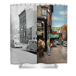 Shower Curtain featuring the photograph City - Amsterdam Ny - Downtown Amsterdam 1941- Side By Side by Mike Savad