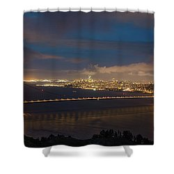 Shower Curtain featuring the photograph City And The Bridge by Stephen Holst