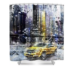 City-art Nyc Collage Shower Curtain by Melanie Viola