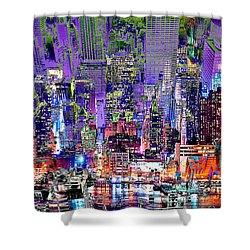 City Art Syncopation Cityscape Shower Curtain by Mary Clanahan