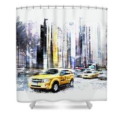 City-art Times Square II Shower Curtain by Melanie Viola