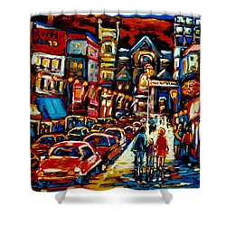 City At Night Downtown Montreal Shower Curtain by Carole Spandau