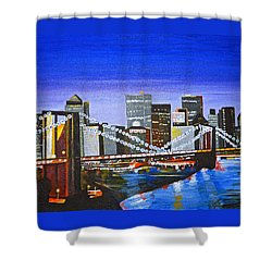 City At Twilight Shower Curtain by Donna Blossom