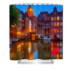 City Block 900 Soft And Dreamy In Thick Paint Shower Curtain by Catherine Lott