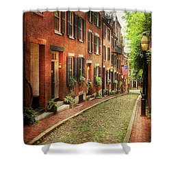 Shower Curtain featuring the photograph City - Boston Ma - Acorn Street by Mike Savad