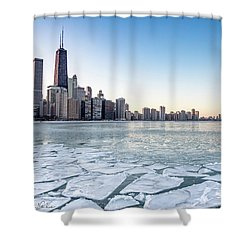 City By The Frozen Lake Shower Curtain