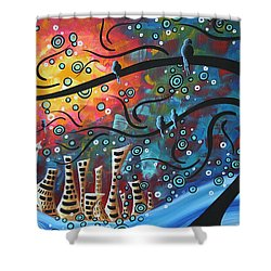 City By The Sea By Madart Shower Curtain