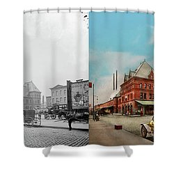 Shower Curtain featuring the photograph City - Chicago Ill - Dearborn Station 1910 - Side By Side by Mike Savad