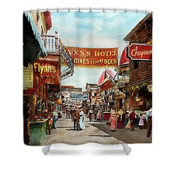 Shower Curtain featuring the photograph City - Coney Island Ny - Bowery Beer 1903 by Mike Savad